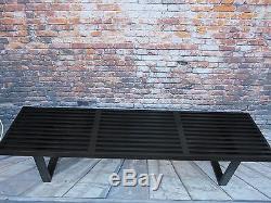 Vintage 1950s Mid Century Modern George Nelson Herman Miller Black Slat Bench