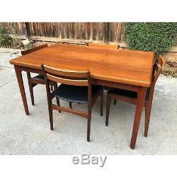 Vintage 1960's Frem Rojle Mid Century Danish Modern Teak Dining Set 7 Chairs