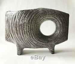 Vintage 1960's Mid Century Modern Japanese Stoneware TOYO Ikebana Footed Vase