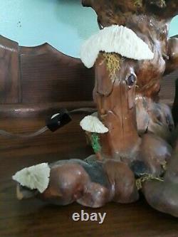 Vintage 1960s SEA ART Mushroom Lamp Cypress Knee Wood Genuine Coral Mid Century