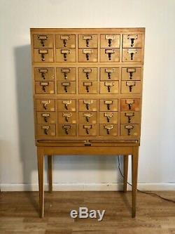 Vintage 35 Drawer Gaylord Oak Stacking Library Card Catalog Cabinet Mid Century