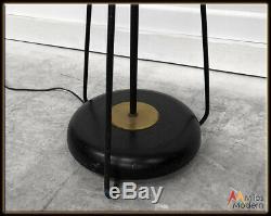 Vintage 50s Mid Century Modern Atomic Hairpin Leg Floor Lamp Fiberglass Shade