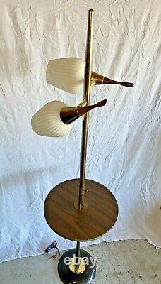 Vintage 70s Mid Century Modern MCM 2 Light Shelf Pole Floor Lamp