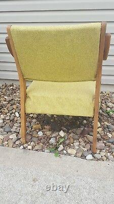 Vintage Antique Mid-Century Danish Style Walnut Wood Lounge Patio Arm Chair