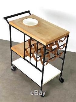 Vintage Arthur Umanoff Raymor Iron & Leather Bar Serving Cart Mid Century Modern