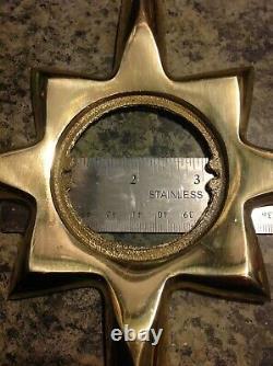 Vintage Atomic Door Knob Back Plate Mid-Century Starburst MCM Brass Escutcheon