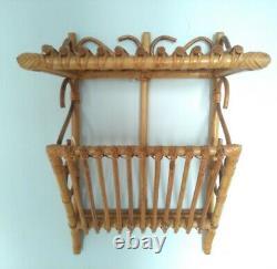 Vintage Bamboo Retro Tiki Boho Rattan Wicker Cane wall Shelving Unit Mid Century