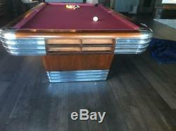 Vintage Brunswick Billiards Mid Century Modern 9' Centennial Pool Table Art Deco