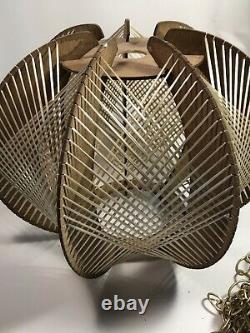 Vintage DANISH MODERN String PENDANT Light MID-CENTURY Swag LAMP Hanging MCM 60s