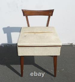 Vintage Danish Mid Century Modern Wood Sewing Chair w Seat Storage Peg Leg