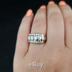 Vintage Diamond 14k White Gold Cocktail Ring Retro Mid Century Estate Jewelry