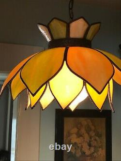 Vintage Double Tulip Slag Glass Hanging Swag Light Mid Century Modern Beauty