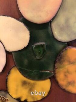 Vintage Enamel Copper and Teak Mid Century Modern MCM Shirley M Hansen Wall Art