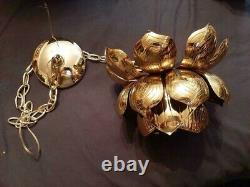 Vintage Feldman Era LOTUS Flower Brass Pendant Chandelier Light Mid Century 1960