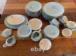 Vintage Franciscan Aqua Silver Pine Mid-Century China. 75 Pieces! MINT