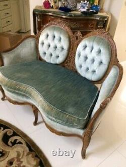 Vintage French Mid Century Victorian Loveseat Sofa Couch Carved Wood Blue Velvet