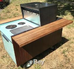 Vintage GE Partio Cart BBQ Oven Range Rotisserie Mid Century Turquoise Sea Foam