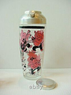 Vintage Hazel Atlas Pink Elephant Bar Set Shaker Ice Bucket Glasses Mid Century