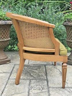 Vintage Hollywood Regency Mid Century Cane Barrel Back Lounge Arm Chair