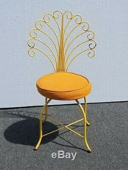 Vintage Hollywood Regency Orange Vanity Peacock Chair Mid Century Modern