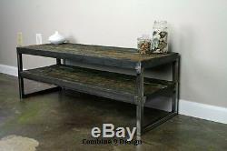 Vintage Industrial TV Stand, Reclaimed Wood, Steel, Rustic, Mid Century, Modern