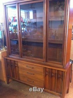Vintage Kent Coffey China Cabinet Hutch Mid Century Danish Style