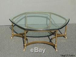 Vintage Labarge Style Hexagon Brass Coffee Table w Hoof Foot Hollywood Regency