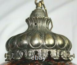 Vintage Large Mid Century Amber Glass Swag Hanging Light Lamp