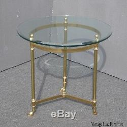 Vintage LeBarge Round Brass End Table Hoof Feet Hollywood Regency Mid Century