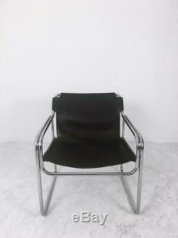 Vintage Leather and Tubular Steel Armchair, 1960s, Netherlands