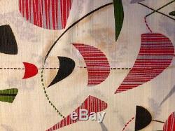Vintage MCM Mid Century Modern Barkcloth Material Drapes Curtains Atom Pattern