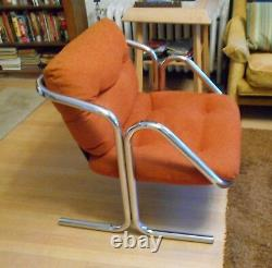 Vintage MID-CENTURY MODERN Chrome JERRY JOHNSON slingback chairs EX pair