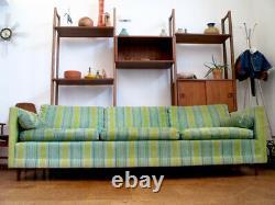 Vintage MID CENTURY Modern MILO Baughman Velvet Tuxedo Floating Sofa COUCH