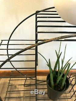 Vintage MID-CENTURY Modern WIRE PLANT STAND Atomic RETRO Display Shelf MCM Metal