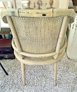 Vintage MID Century Faux Bamboo Cane Bergere Armchair
