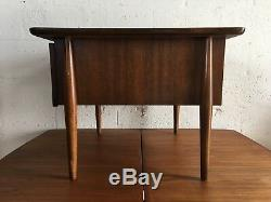 Vintage MID Century Modern Side Table With Caned Doors