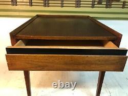 Vintage MID Century Modern Walnut Black Accent Drawer End Table 22 X 26.5