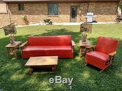 Vintage MID Century Western Cowboy Wagon Wheel Orange Furniture Set A Must Have
