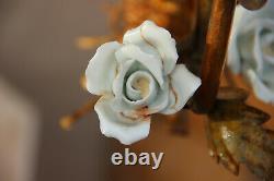 Vintage Metal gold gilt mid century Flower bouquet porcelain roses chandelier