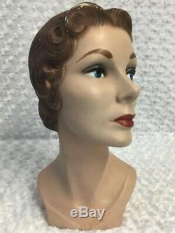 Vintage Mid Century 15 inch MANNEQUIN HEAD hard plastic Brunette Blue Eyes Woman