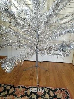 Vintage Mid Century 6.5' Aluminum Pom Pom Christmas Tree Warren Stainless Metal
