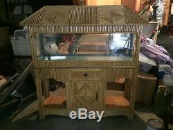 Vintage Mid Century Bamboo Tiki Aquarium Terrarium Reptile Fish Tank