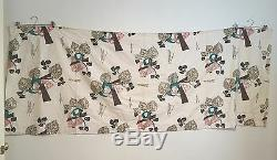 Vintage Mid Century Barkcloth Curtain Valance Panels 50s 60s 4 Pieces