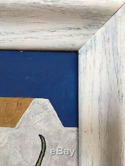 Vintage Mid Century Bauhaus Abstract Geometric Hard Edge Oil Painting