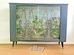 Vintage Mid Century Black & Tropical Cocktail Drinks Cabinet Retro BOHO 60s Bar