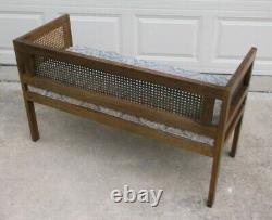 Vintage Mid Century Cane Upholstered Bench