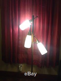 Vintage Mid Century Danish Modern 3 Globe Floor Pole Lamp George Nelson Style