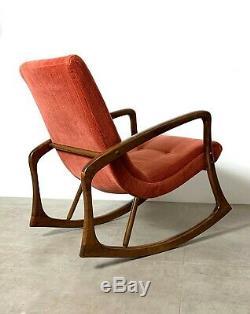 Vintage Mid Century Danish Modern Sculptural Rocking Chair Pearsall Kagan Style