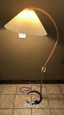 Vintage Mid Century Danish Modern Teak Bentwood Mads Caprani Arc Floor Lamp 70's