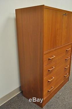 Vintage Mid Century Danish Modern Teak Drop Front Dresser Secretary Desk Cabinet